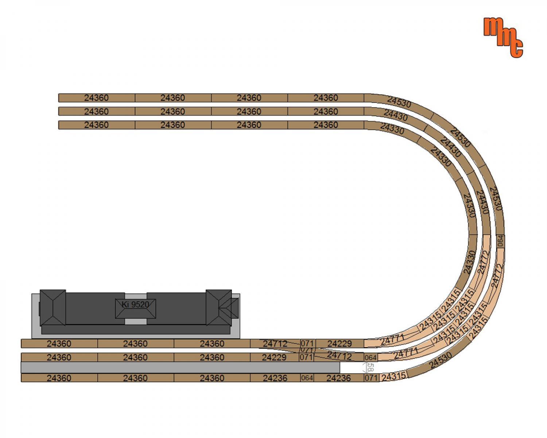 R3 = 515 mm 30° C-Gleis Bogenweiche rechts schlank Märklin 24772