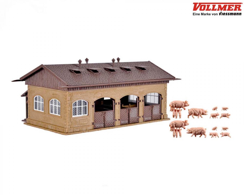 Vollmer 43740 H0 Schweinestall mit Schweinen